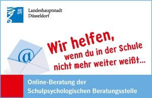 """Button der Schulpsychologischen Beratungsstelle - online mit der Aufschrift: """" Landeshauptstadt Düsseldorf. Wir helfen, wenn du in der Schule nicht mehr weiter weißt... . Online-Beratung der Schulspychologischen Beratungsstelle"""""""