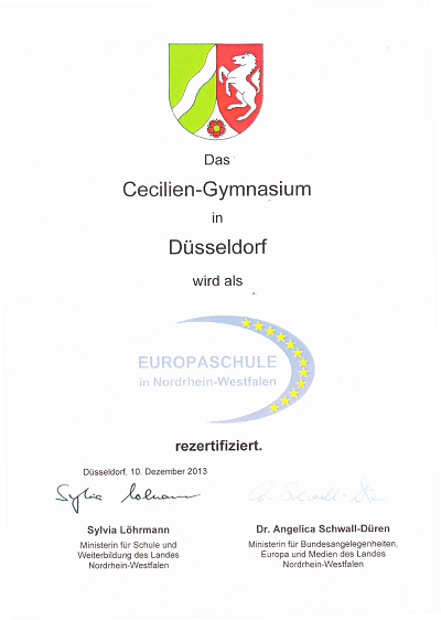 Urkunde Rezertifizierung Europaschule